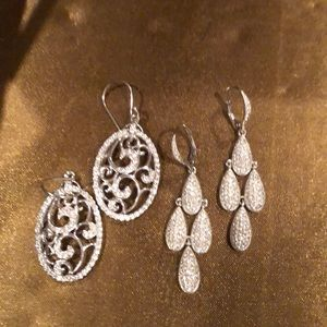 Two pair of silver faux diamond earrings